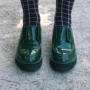 Jeffrey Campbell Green Patent platform loafers